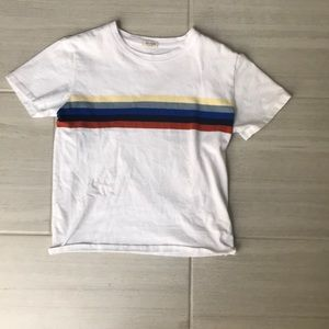 A white shirt with color stripe down the middle.